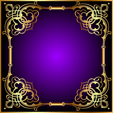 illustration frame with vegetable and gold(en) pattern Vector