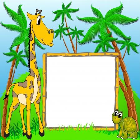 giraffe frame: illustration background giraffe and terrapin on background of the palms
