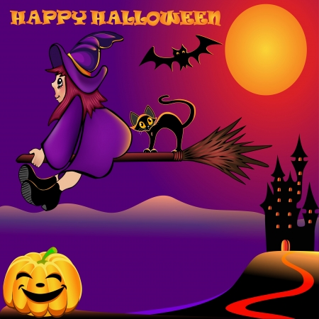 witch face: illustration background halloween with pumpkin and house Illustration