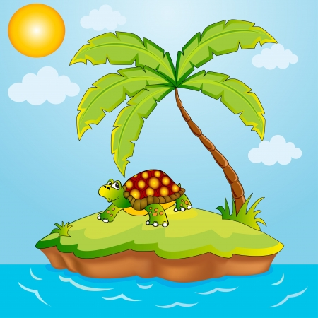 floating on water: illustration south island with palm and terrapin