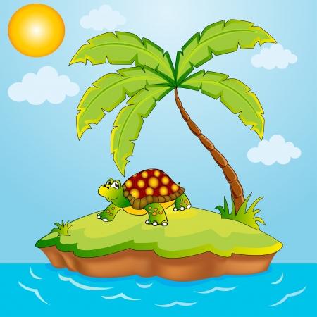 terrapin: illustrazione sud isola con palma e terrapin