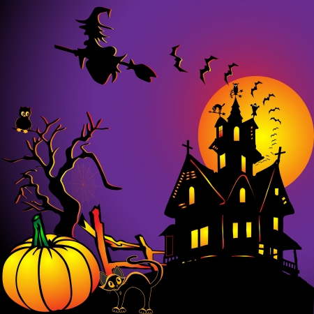 witch face: illustration background with house by pumpkin and eagle owl