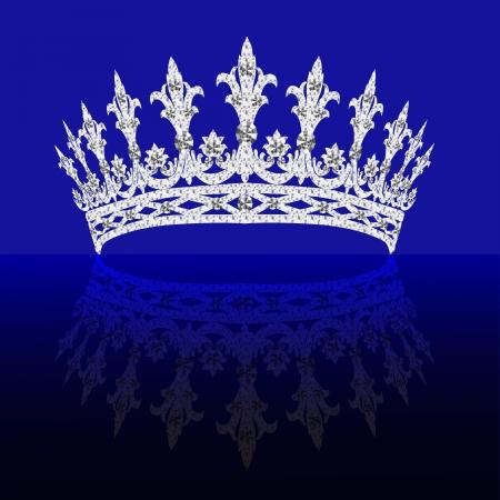 illustrations diadem feminine with reflection on turn blue background Vettoriali