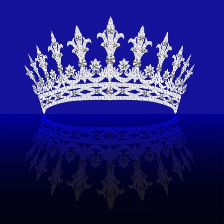 diadem: illustrations diadem feminine with reflection on turn blue background Illustration