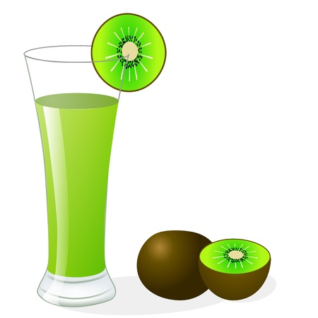 fruitful: illustration fruit kiwi and glass of juice Illustration
