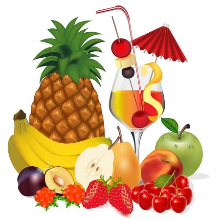 coctel de frutas: ilustración de cócteles y frutas plátano manzana melocotón cherry plum