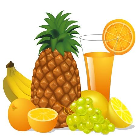 orange juice glass: illustration juice and fruits banana pineapple orange grape