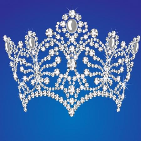 corona de princesa: ilustraci�n de la boda hermosa diadema femenino sobre fondo azul