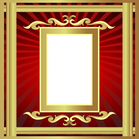 illustration gold(en) frame with pattern and ray Vector