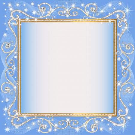 illustraties frame van blauwe achtergrond met goud (en) (en) monster Stock Illustratie