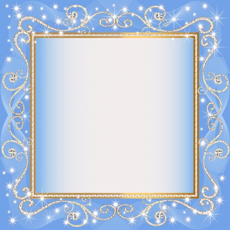 illustrations frame blue background with gold(en)(en) sample Stock Vector - 15124776