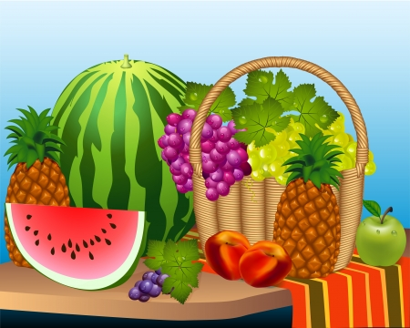 illustration basket and fruits watermelon grape peaches, pineapple Stock Vector - 15124778