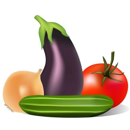 illustratie stilleven met tomaat ui komkommer aubergine