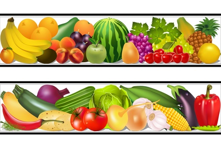 illustration set food vegetables and fruits painting vector damp Vettoriali