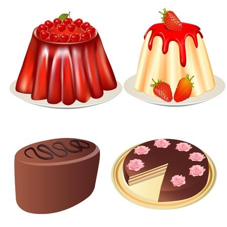 gelatina: ilustraciones establecer postre gelatina con pastel de cereza y fresas y pastel