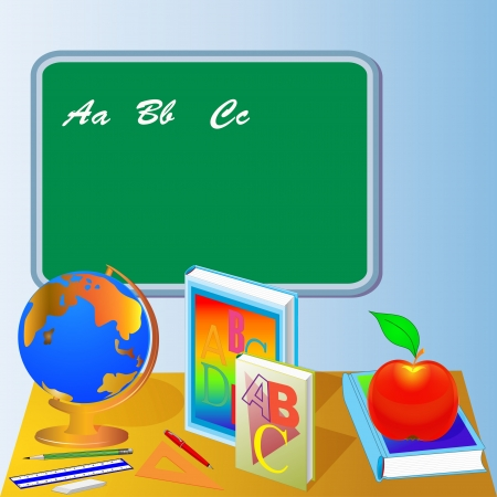 illustrations school board with globe book and apple Vector