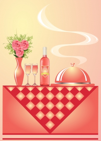 illustration vase with flower wine with goblet and tray for hot Vector