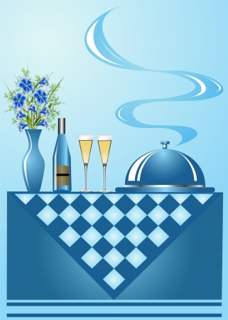 illustration background vase with flower wine with goblet and tray Vector