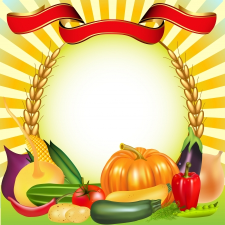 illustration background harvest vegetables ear pumpkin cucumber tomato Vector