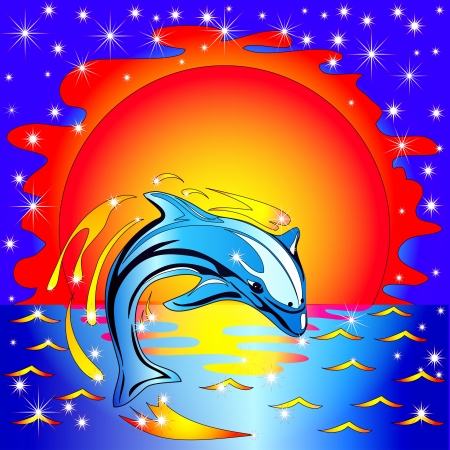 illustration jump dolphin before sunset on by sea Vector