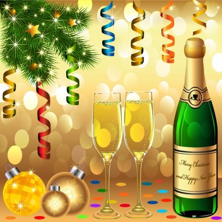 bollicine champagne: illustrazione Calici palle di Capodanno rottami abete