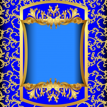 traditional events: illustrations blue background  with gold(en) sample on background of the pattern Illustration