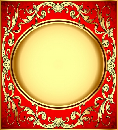illustration background pattern gold on red background Vector