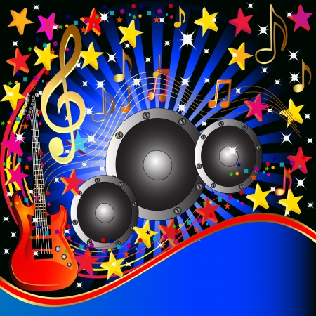 illustration music background with guitar speaker and stars Vector