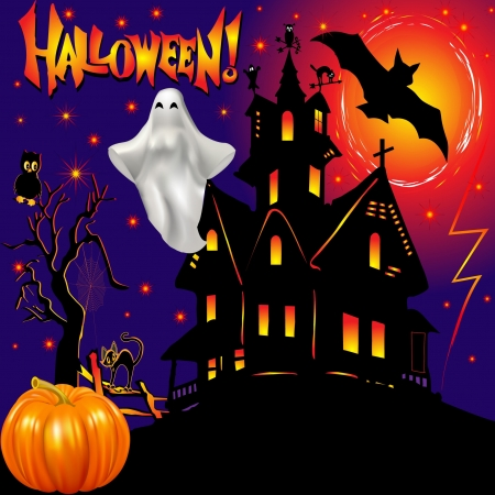 halloween castle: illustration holiday adduction pumpkin house cat lightning Illustration