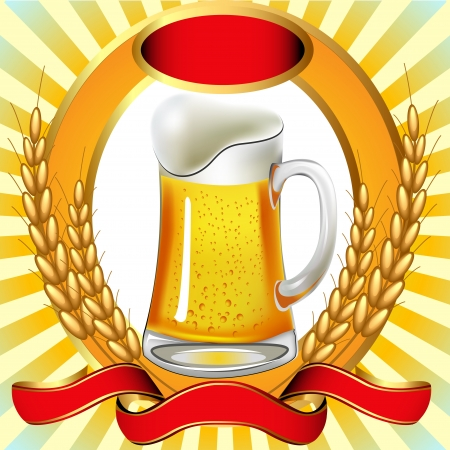 illustration beer with bladder ear and tape Vector