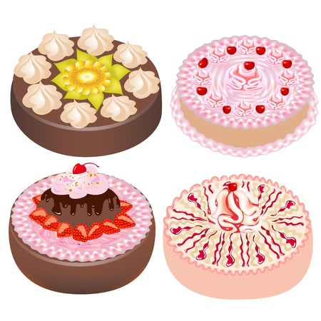 illustration set cake with cherry and strawberries Stock Vector - 15366760
