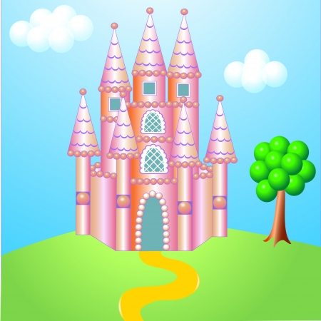 illustration rose nice castle on hillock with tree