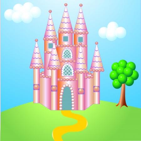 hillock: ilustraci�n rosa bonito castillo colina con el �rbol Vectores
