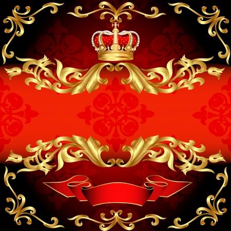 illustratie rode achtergrond frame goud patroon en corona