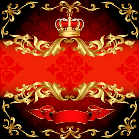 illustration red background frame gold pattern and corona Vector