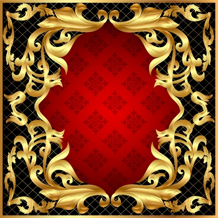 illustration background frame for message gold pattern Stock Vector - 15389350