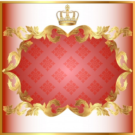 illustration rose background for invitation gold pattern and crown Stock Vector - 15389353