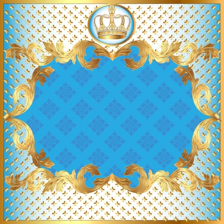 illustration blue background for invitation gold pattern and crown Stock Vector - 15389354