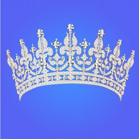 tiara: illustration beautiful diadem feminine wedding on we  blue background