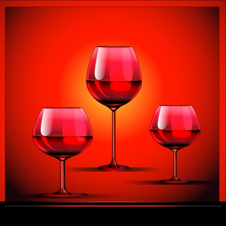 illustration three goblets with wine on bright background Stock Vector - 15398458