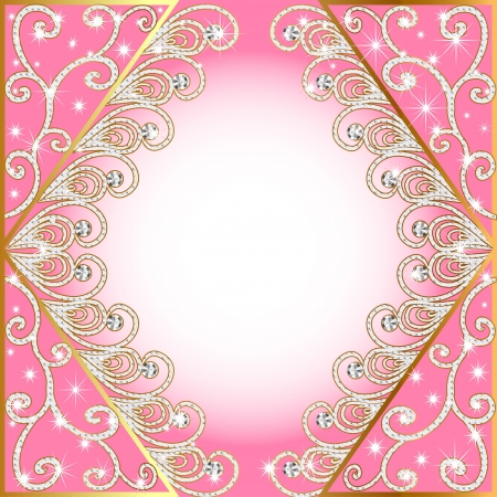 illustration background with gold(en) pattern and diamond Stock Vector - 15398459