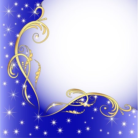illustration background with gold (en) an ornament and stars Vector