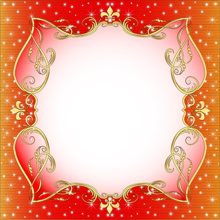 illustration red  background with gold (en) an ornament and stars Stock Vector - 15441659