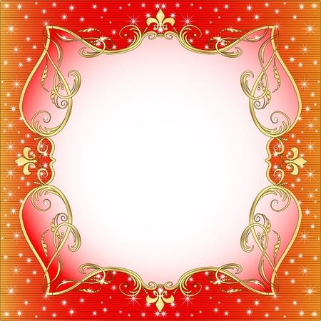 gold en:  illustration red  background with gold (en) an ornament and stars Illustration