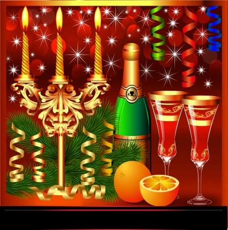 illustration a festive background with candles wine and glasses Vector