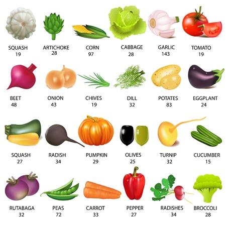 illustration set vegetable with calories on white Illustration