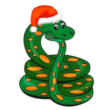 snake year:  illustration snake in holiday new year
