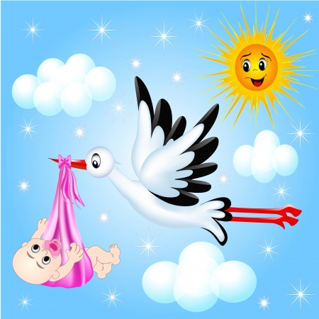 baby girl: illustration nursery frame for photo stork and cloud