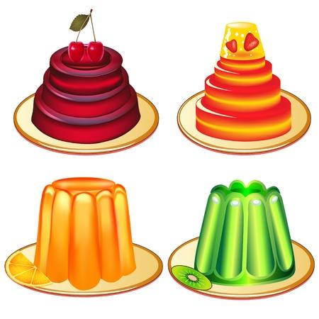 gelatina: ilustraci�n de un conjunto de postres de gelatina en platos Vectores
