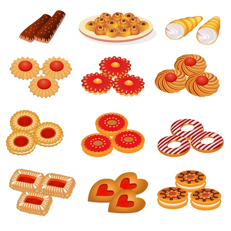 illustration set tasty sand cookies and cake